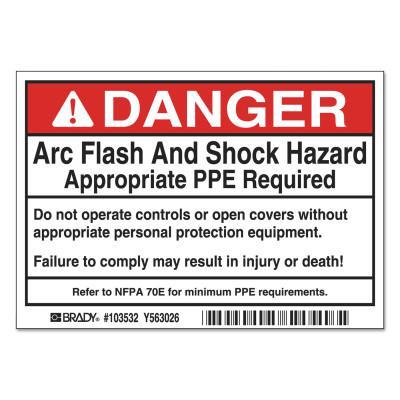 BRADY Arc Flash Labels, 5 in x 3 1/2 in, Danger - Arc Flash And Shock Hazard, Red