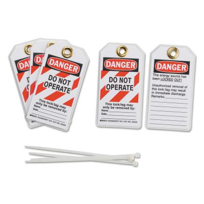 BRADY Lockout Tags, 3 in x 5 3/4 in x 0.0252 in, Danger Do Not Operate This Lock, Red