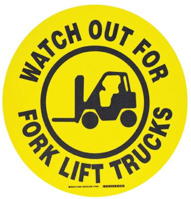 BRADY Floor Safety Signs, Watch Out For Forklift Trucks, Yellow/Black