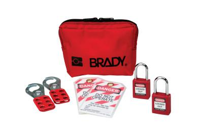 BRADY Personal Padlock Pouches, w/Hasps/Ties/Padlocks, Red