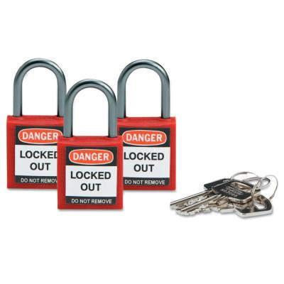 BRADY Compact Safety Locks,  1 1/5 in W x 5/8 L in x 1 2/5 H, Red, 3/Pk