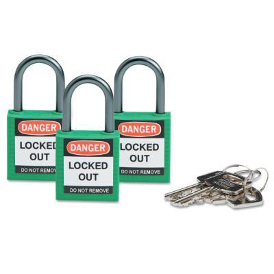 BRADY Compact Safety Locks,  1 1/5 in W x 5/8 L in x 1 2/5 H, Green, 3/Pk