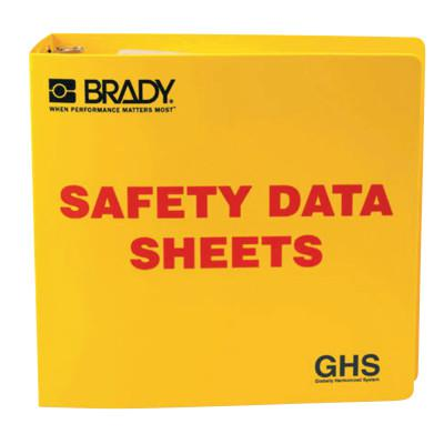 BRADY GHS Safety Data Sheet Binders, English, 3 in, Yellow