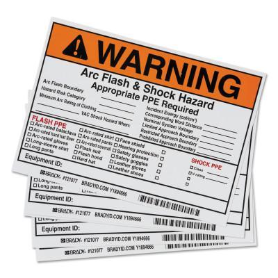 BRADY Arc Flash Labels, 7 in x 5 in, Warning - Arc Flash & Shock Hazard, Orange