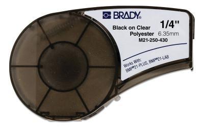 "BRADY CART M21 B430 0.25"" X 21' BLK/CLR"