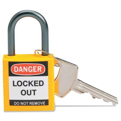 BRADY Compact Safety Locks,  1 1/5 in W x 5/8 L in x 1 2/5 H, Yellow
