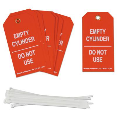 BRADY Cylinder Status Tags, 3 in x 5.3 in, Empty Cylinder/Do Not Use, White/Red