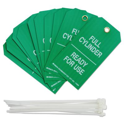 BRADY Cylinder Status Tags, 3 in x 5.3 in, Full Cylinder/Ready For Use, White on Green