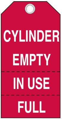 BRADY Cylinder Status Tags, 5 3/4 x 3 in, Cylinder Empty, In Use Full