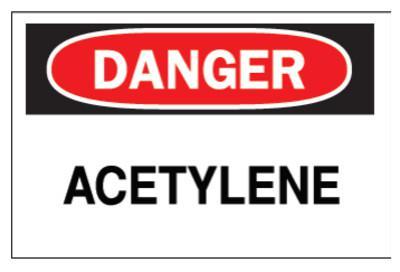 BRADY Chemical & Hazardous Material Signs, Danger, Acetylene, White/Red/Black