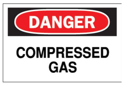 BRADY Chemical & Hazardous Material Signs, Danger, Compressed Gas, White/Red/Black