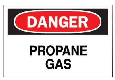 BRADY Chemical & Hazardous Material Signs, Danger, Propane, White/Red/Black