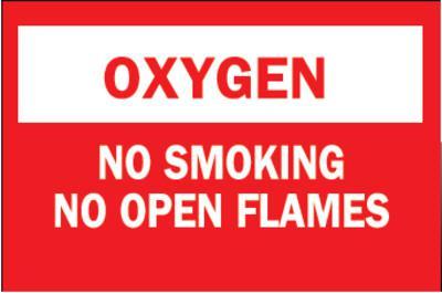 BRADY Chemical & Hazardous Material Signs, Oxygen/No Smkg/No Open Flames, Plstc,Rd/Wt