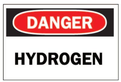 BRADY Chemical & Hazardous Material Signs, Danger/Hydrogen, White/Red/Black