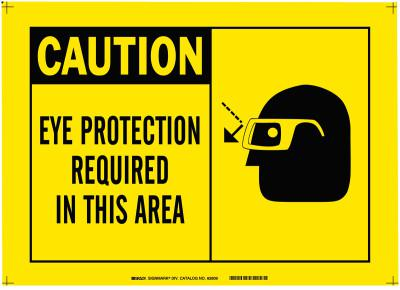 BRADY Alert Signs, Caution, Eye Protection Required In This Area, Yellow/Black