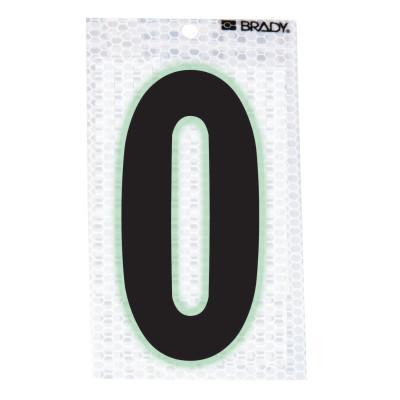 "BRADY Glow-In-The-Dark/Ultra Reflective Numbers, 3.5 in x 2.5 in, ""0"", Black/Silver"