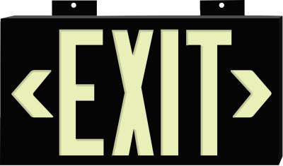 BRADY Glo Exit Signs, Exit, Black