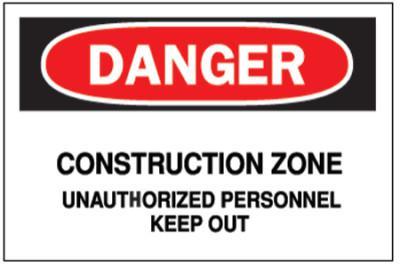BRADY Traffic Signs, Danger, Construction Zone, White/Red/Black