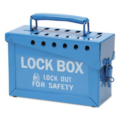 BRADY Lock Box, 9 in L x 6 in H x 3 1/2 in W, Blue