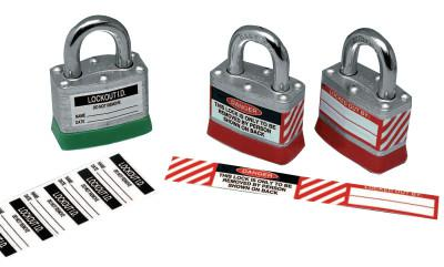 BRADY Padlock Lockout Labels, 5/8- 4 1/2 in, Red/Black