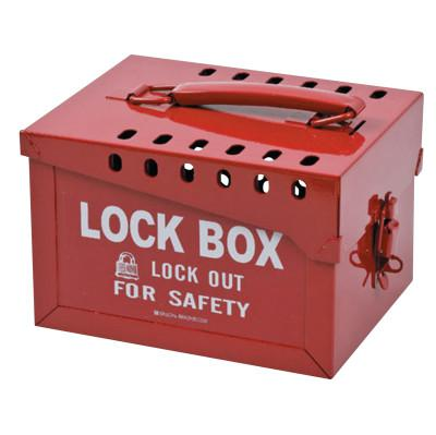 "BRADY Extra Large Metal Lock Box, 6"" H x 7 3/8"" W x 9 1/4"" D, Holds 12 Locks, Red"