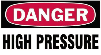 BRADY Gas Cylinder Lockout Labels, Danger High Pressure Gas, 5 in W x 3 in L, White/RD