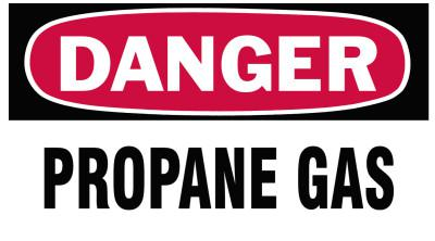 BRADY Gas Cylinder Lockout Labels, Danger Propane, 5 in W x 3 in L, White/Red