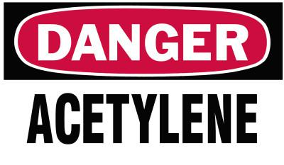 BRADY Gas Cylinder Lockout Labels,  Danger Acetylene Gas, 5 in W x 3 in L, White/Red