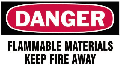 BRADY Gas Cylinder Lockout Labels, Danger Flammable Material, 5 in W x 3 in L, WH/RD