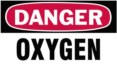 BRADY Gas Cylinder Lockout Labels, Danger Oxygen Gas, 5 in W x 3 in H, White/Red