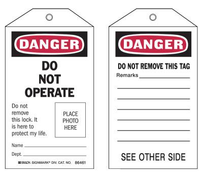 BRADY Self-Laminating Tags, 5.3 x 3 in, Danger, Do Not Operate