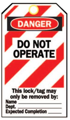 BRADY Heavy Duty Lockout Tags, 4.8 x 7 1/2 in, Danger, Do Not Operate