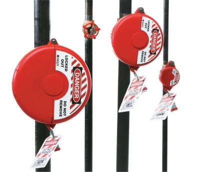 BRADY Gate Valve Lockouts, 1 in - 2 1/2 in Handle Size, Red