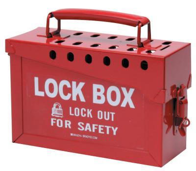 BRADY Lock Box, 6 in H x 9 in L x 3.5 in W, Red