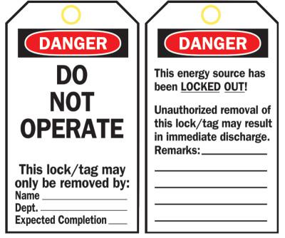 BRADY Lockout Tags, 5 3/4 in x 3 in, Polyester, Danger, Do Not Operate