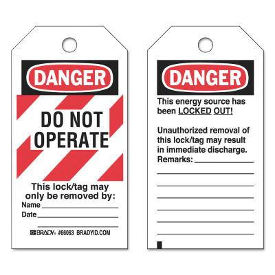BRADY Lockout Tags, 3 in x 5 3/4 in x 0.0098 in, Danger Do Not Operate This Lock, Red