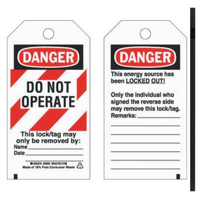 BRADY Lockout Tags, 5 3/4 in x 3 in, Economy Polyester, Danger, Do Not Operate