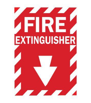 BRADY Health & Safety Signs, FIRE EXTINGUISHER, Fiberglass