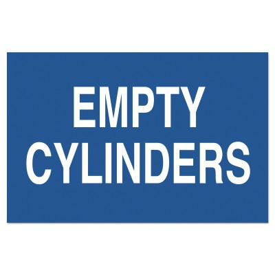 BRADY Chemical and Hazardous Material Signs, Empty Cylinders, Blue/White