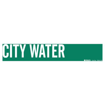BRADY Self-Sticking Vinyl Pipe Markers, City Water, White on Green, 24 in x 24 in
