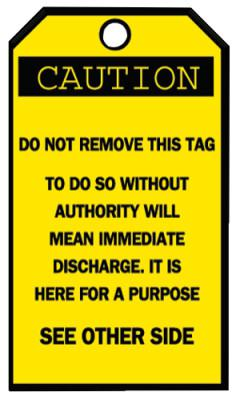 BRADY Blank Accident Prevention Tags, 3 1/4 x 5 5/8 in, Caution