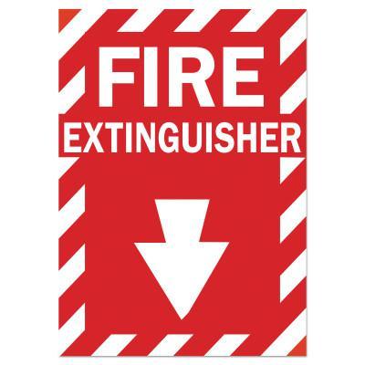 BRADY Health & Safety Signs, FIRE EXTINGUISHER, Polyester Sticker