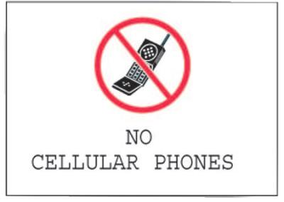 BRADY Phone Signs, No Cellular Phones, White/Red/Black