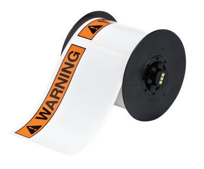 """BRADY BBP31 Indoor/Outdoor Vinyl Tapes, 6 in, """"Warning"""", Black/Orange"""