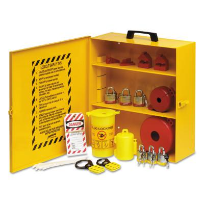 BRADY Industrial Strength Lockout Stations, 1.5 in Dia Shackle, 14w x 6d x 16h, Yellow