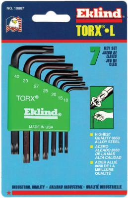 EKLIND TOOL 7-PC TORX SHORT ALLEN WRENCH SET W/HOLDER