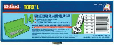 EKLIND TOOL 14-PC. TORX LONG HEX KEYSET T6-T55 W/GR