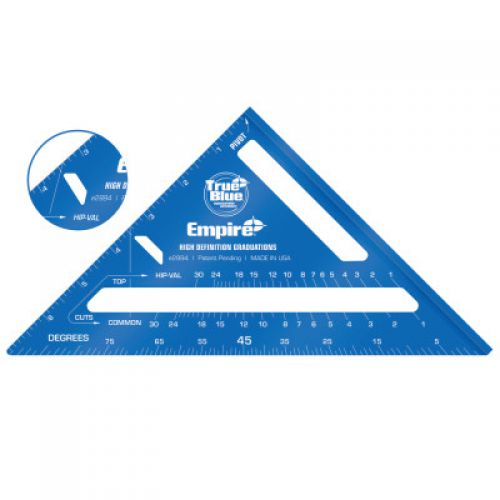 """EMPIRE LEVEL True Blue® High Definition Rafter Square, 7"""", 8ths, Aluminum"""