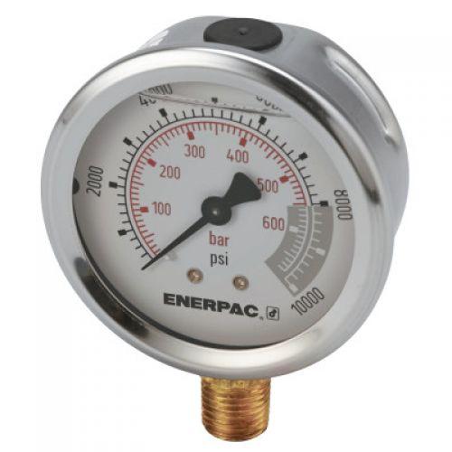 ENERPAC Glycerine Filled Hydraulic Pressure Gauge, 0 - 10,000 psi, 1/4 in NPT