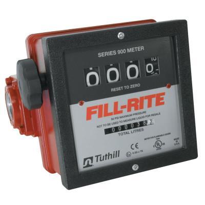 FILL-RITE Mechanical Flow Meters, 1 1/2 in Inlet, 6 gal/min - 40 gal/min, 4 Wheel